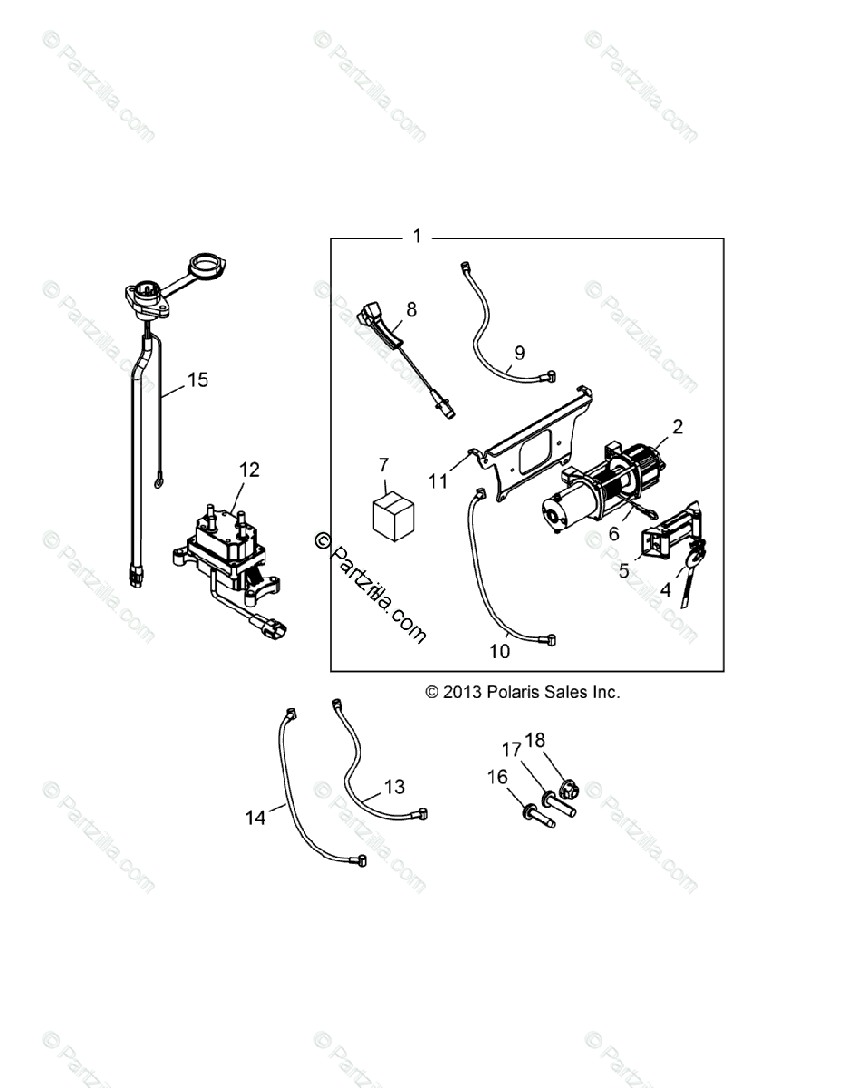 Polaris Side by Side 2014 OEM Parts Diagram for Winch