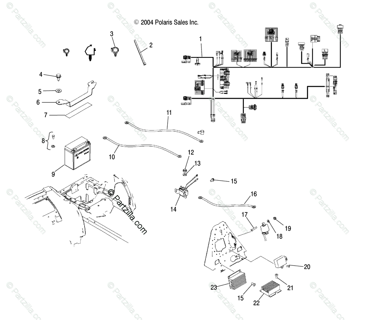 Polaris ATV 2005 OEM Parts Diagram for Electrical