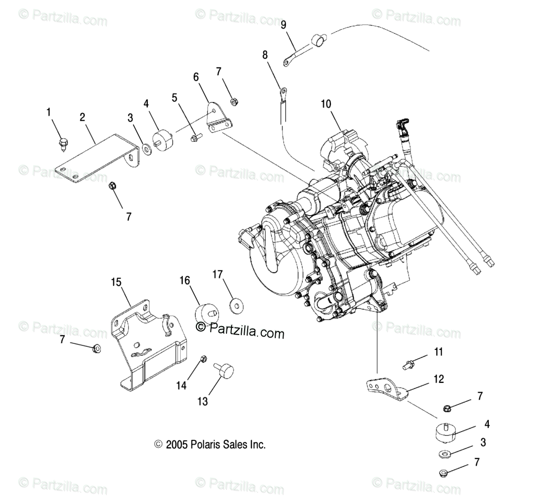 Polaris Side by Side 2006 OEM Parts Diagram for Engine