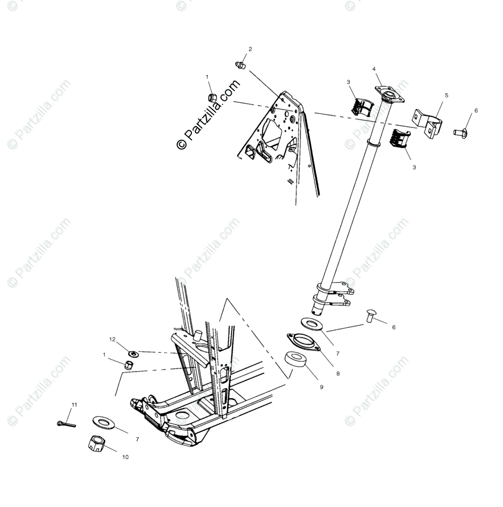 Polaris ATV 2002 OEM Parts Diagram for Steering, Post
