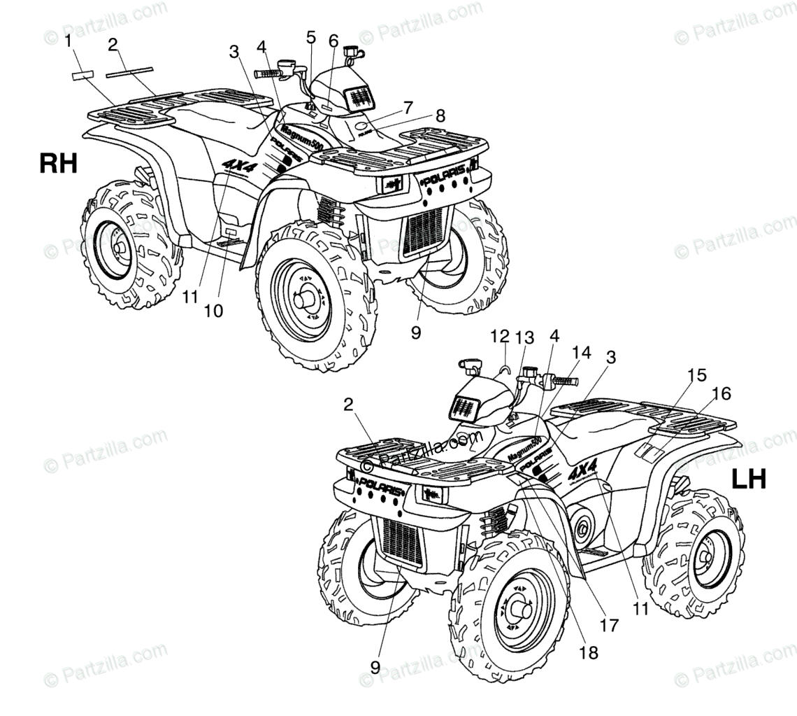 Polaris ATV 2002 OEM Parts Diagram for Decals A02cd50aa/Ab