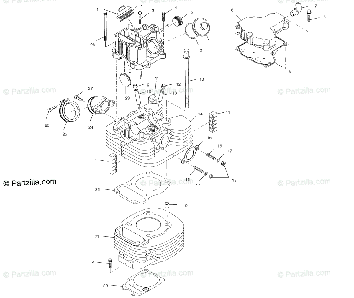 Polaris ATV 2001 OEM Parts Diagram for Cylinder A01aa32aa