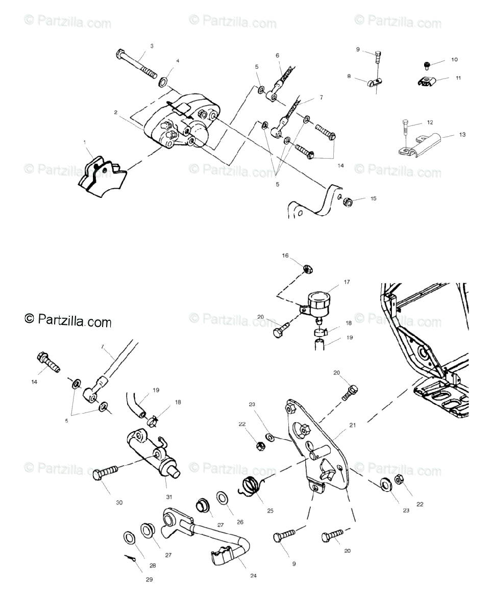 Polaris ATV 2001 OEM Parts Diagram for Rear Brake