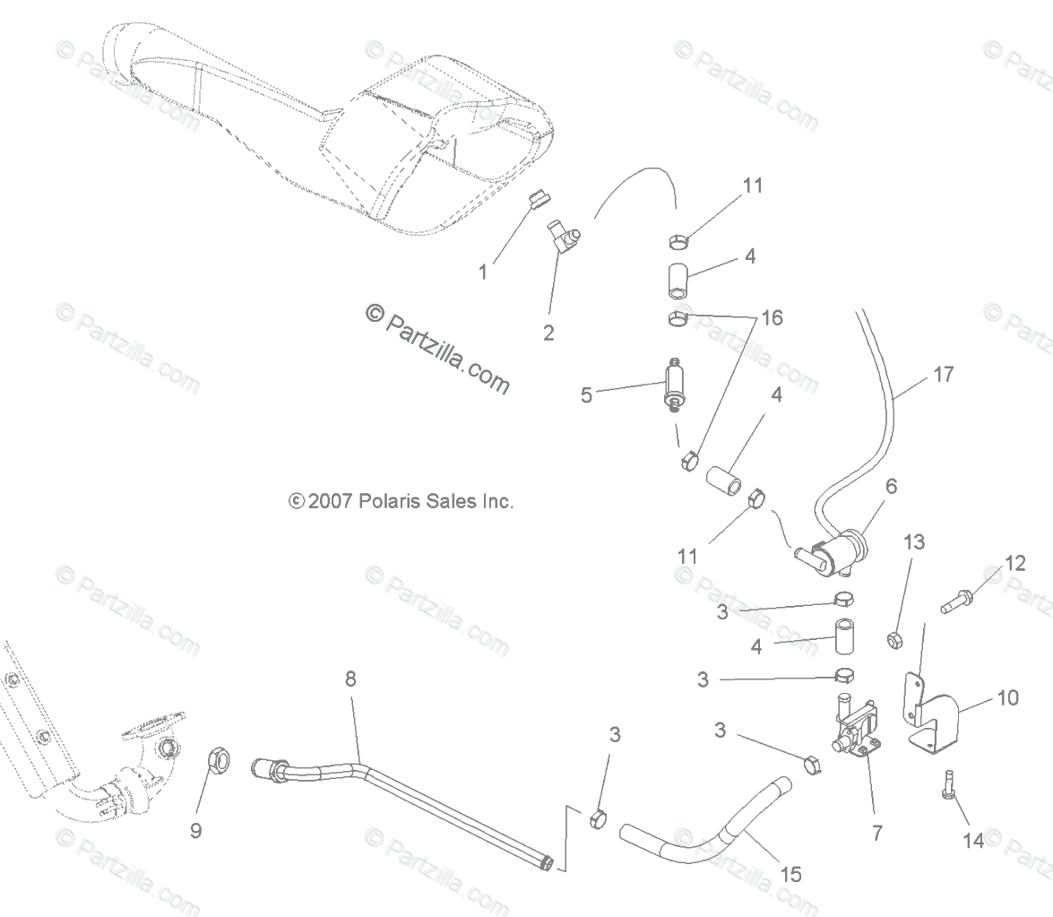 Polaris ATV 2008 OEM Parts Diagram for Engine, Air