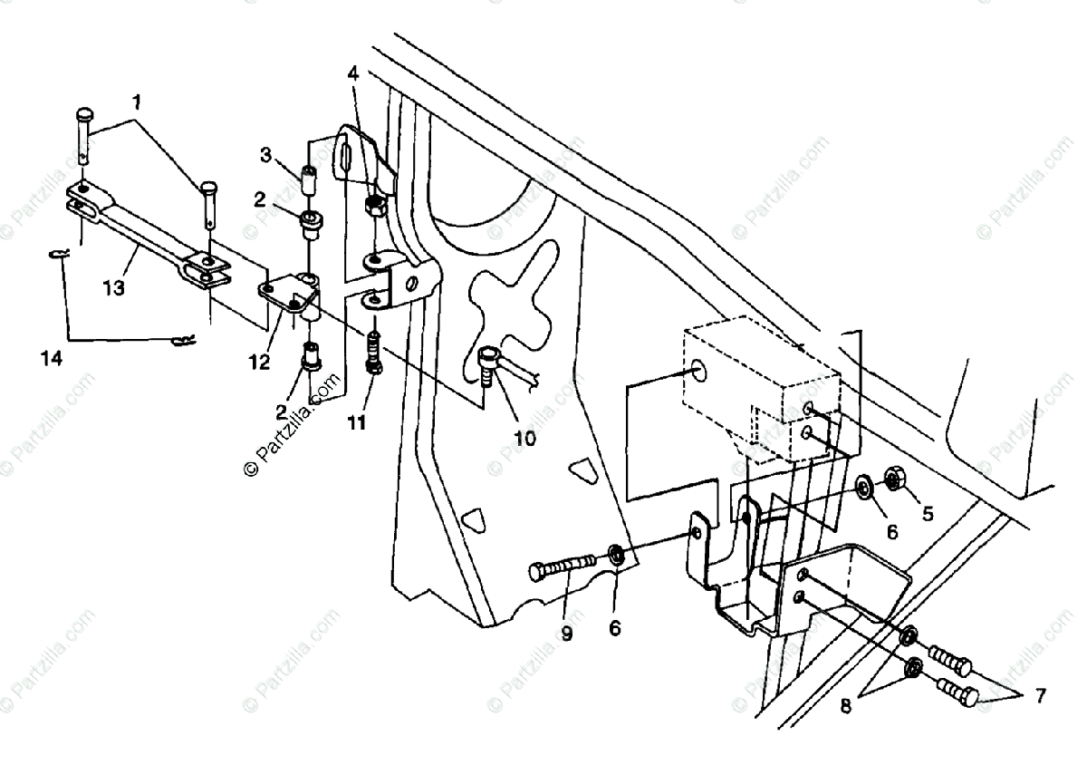 Polaris ATV 1998 OEM Parts Diagram for Frame Mounting