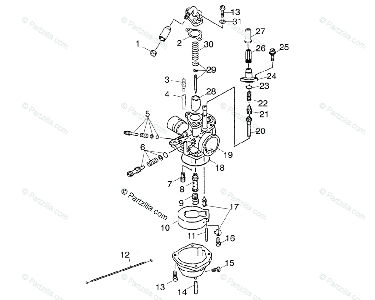 Polaris ATV 2003 OEM Parts Diagram for Carburetor