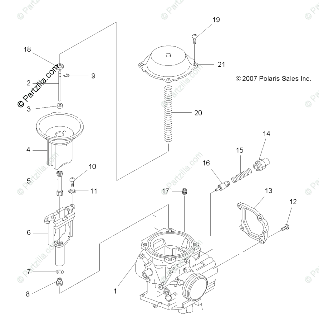 Polaris ATV 2008 OEM Parts Diagram for Engine, Carburetor