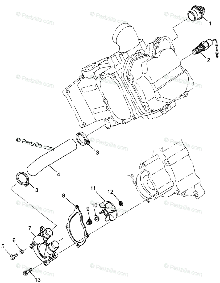 Polaris ATV 1998 OEM Parts Diagram for Water Pump S98ae50e