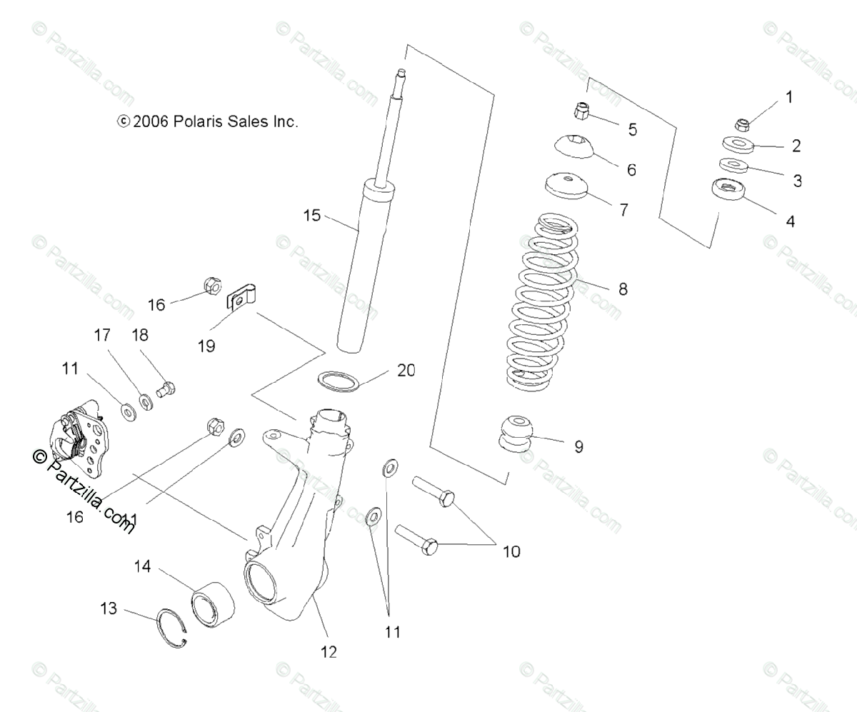 Polaris ATV 2007 OEM Parts Diagram for Strut, Front