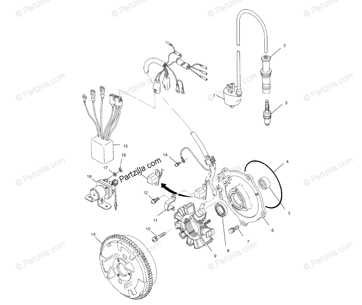 Polaris Atv Oem Parts Diagram For Magneto A01ch50eb