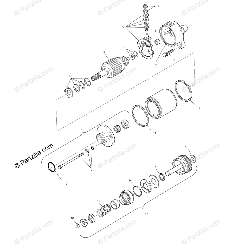 Polaris ATV 2001 OEM Parts Diagram for Starting Motor