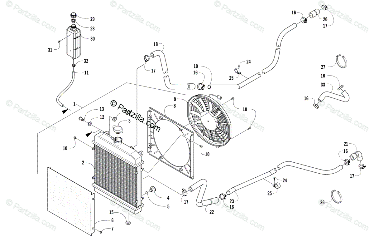 Arctic Cat Side by Side 2016 OEM Parts Diagram for Cooling