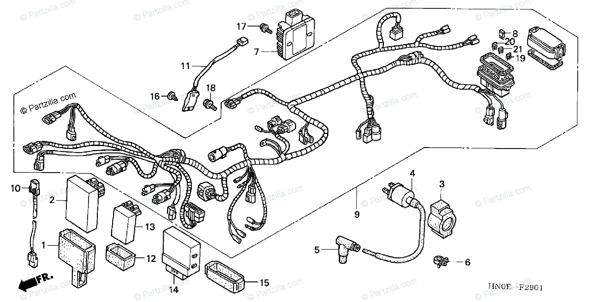 Honda ATV 2004 OEM Parts Diagram for Wire Harness