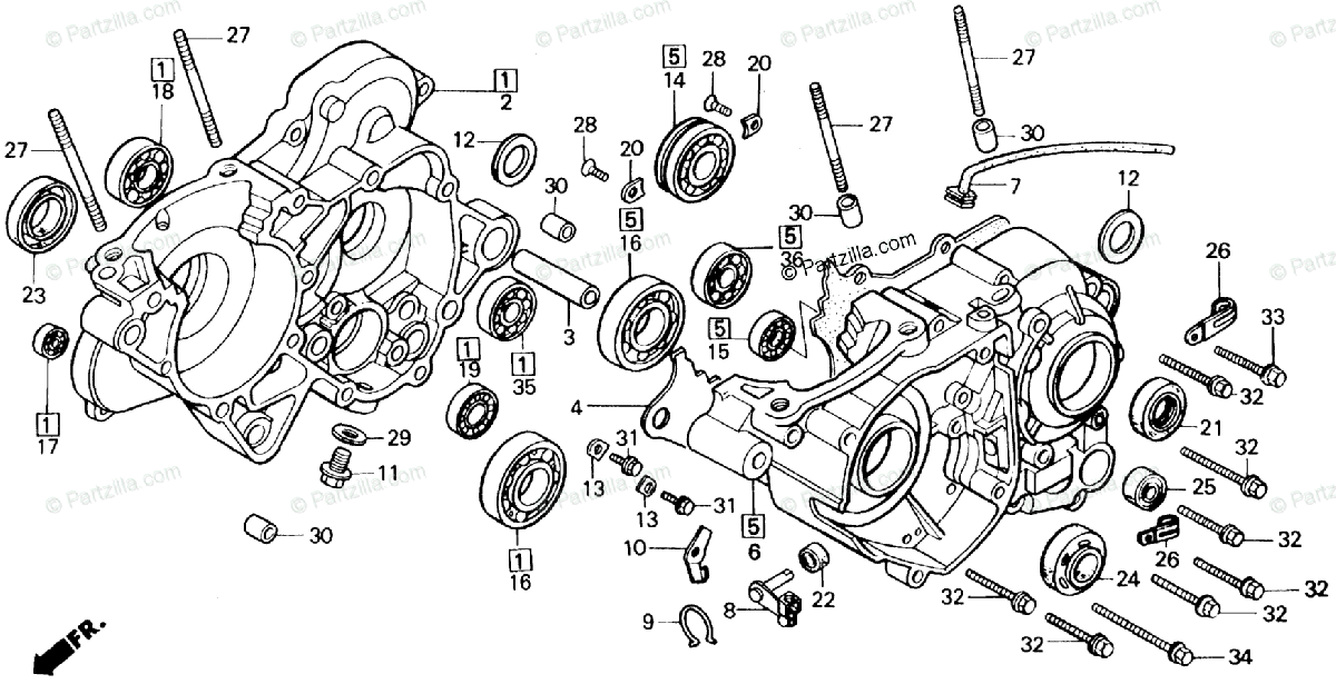 Honda Motorcycle 1985 OEM Parts Diagram for Crankcase