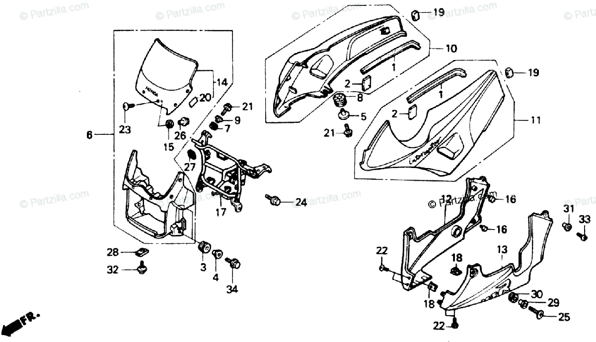 Honda Motorcycle 1989 OEM Parts Diagram for Cowl