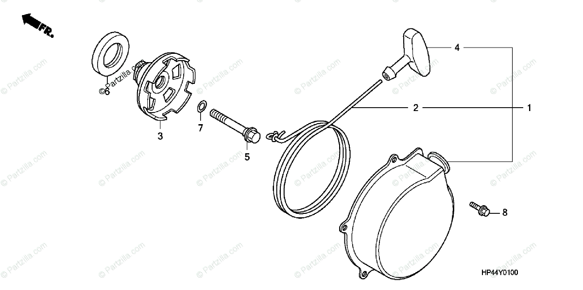 Honda ATV 2007 OEM Parts Diagram for Recoil Starter