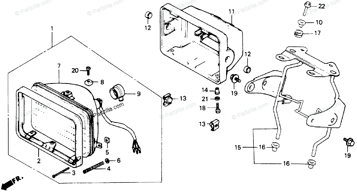 Honda Motorcycle 1990 OEM Parts Diagram for Headlight