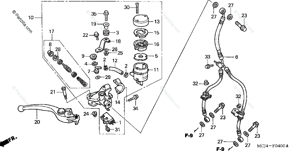 Honda Motorcycle 2002 OEM Parts Diagram for Front Brake