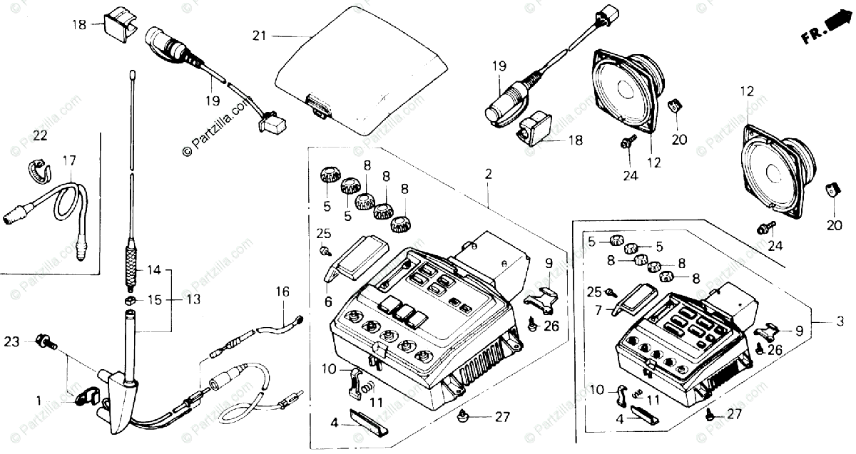 Honda Motorcycle 1990 OEM Parts Diagram for Radio Cassette