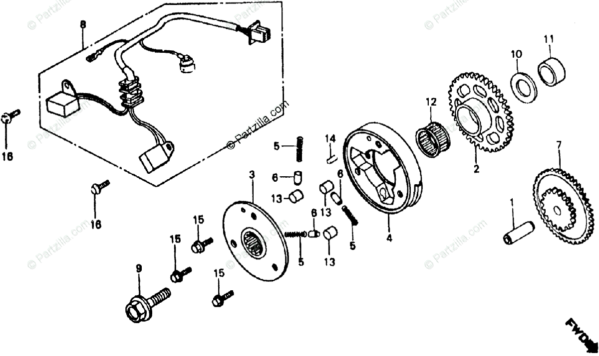 Honda Motorcycle 1985 OEM Parts Diagram for Pulse