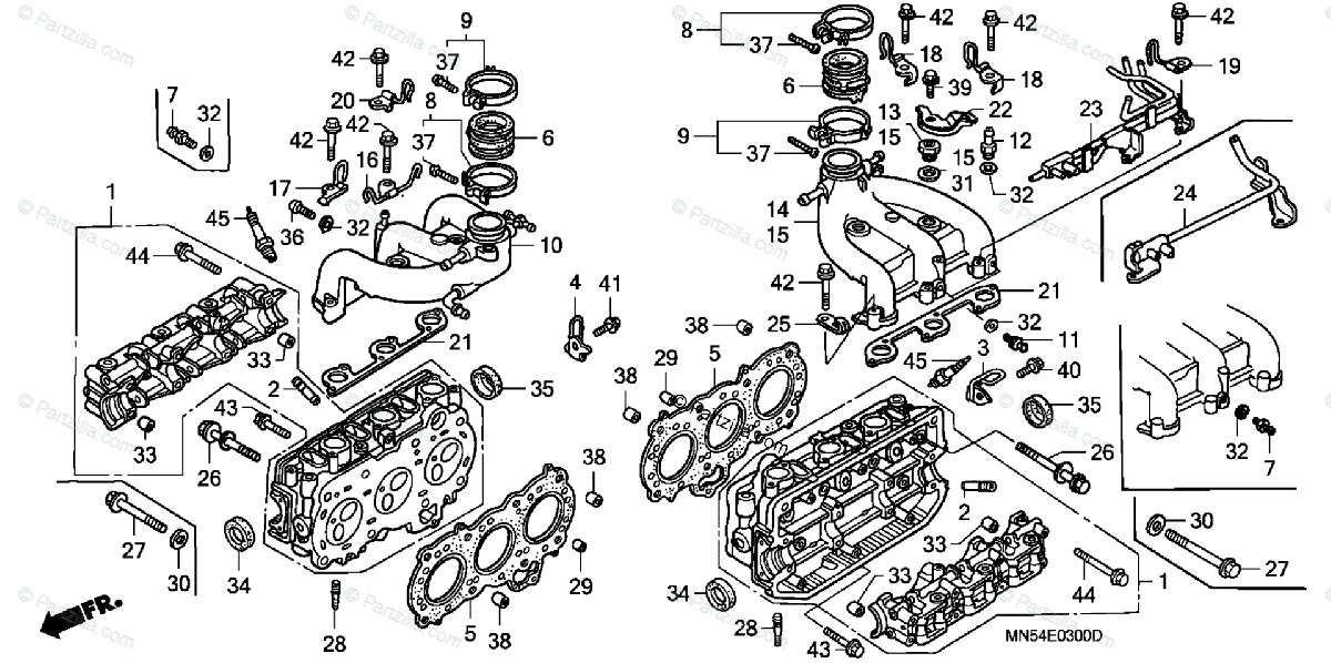 Honda Motorcycle 1988 OEM Parts Diagram for Cylinder Head