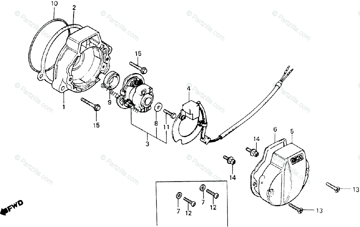 Honda Motorcycle 1982 OEM Parts Diagram for C.D.I. Pulser