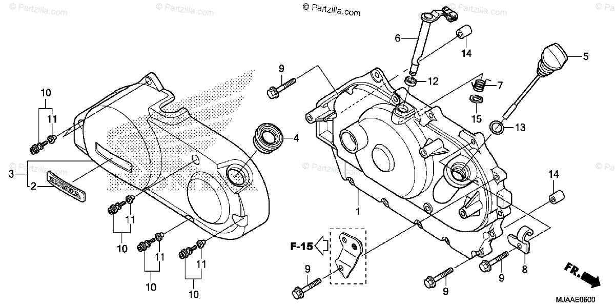 Honda Motorcycle 2013 OEM Parts Diagram for Right
