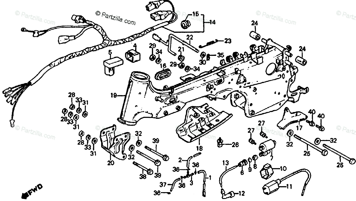 Honda ATV 1985 OEM Parts Diagram for Frame / Wire Harness