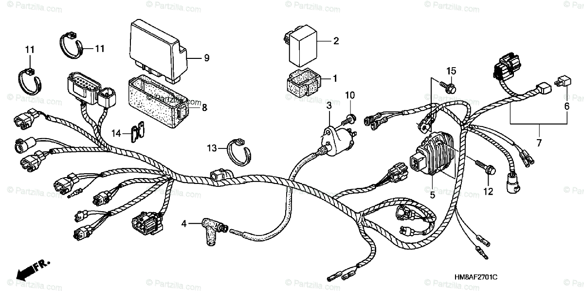 Honda ATV 2004 OEM Parts Diagram for Wire Harness (TE