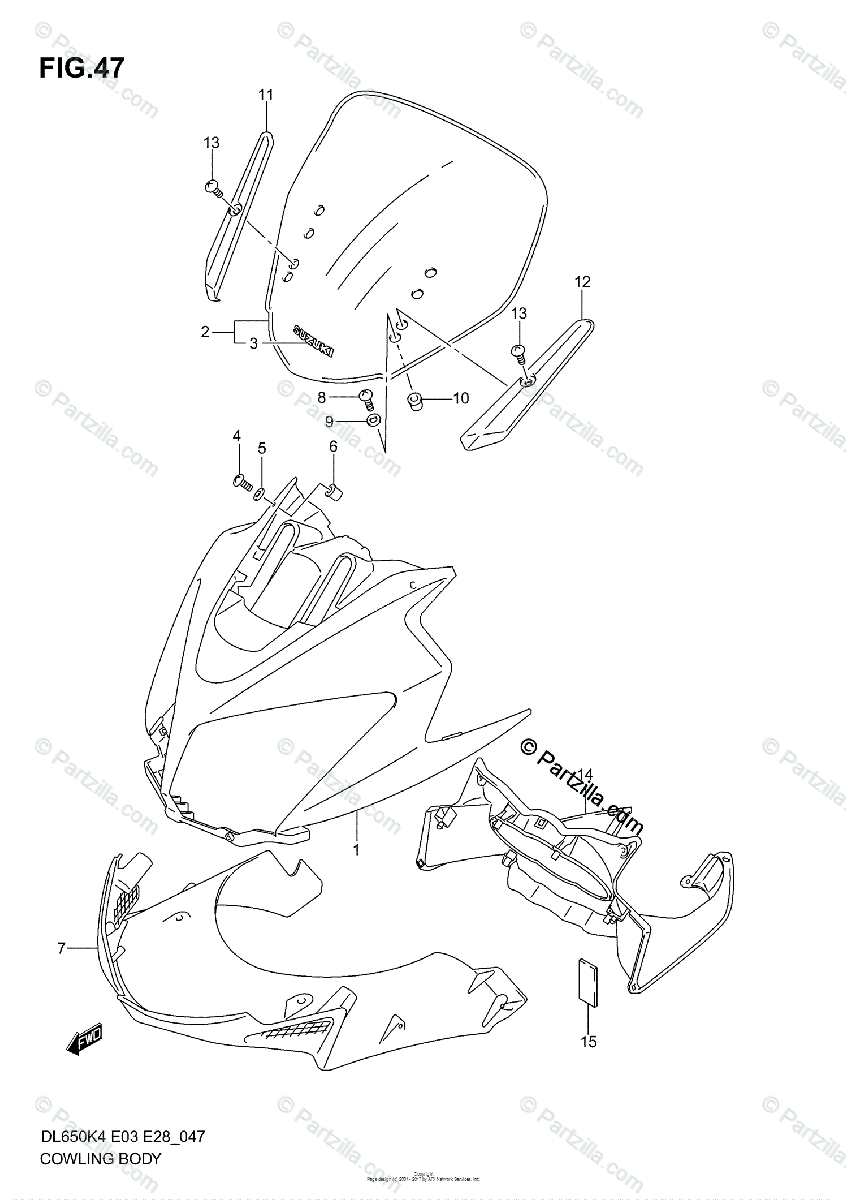 Suzuki Motorcycle 2006 OEM Parts Diagram for Cowling Body