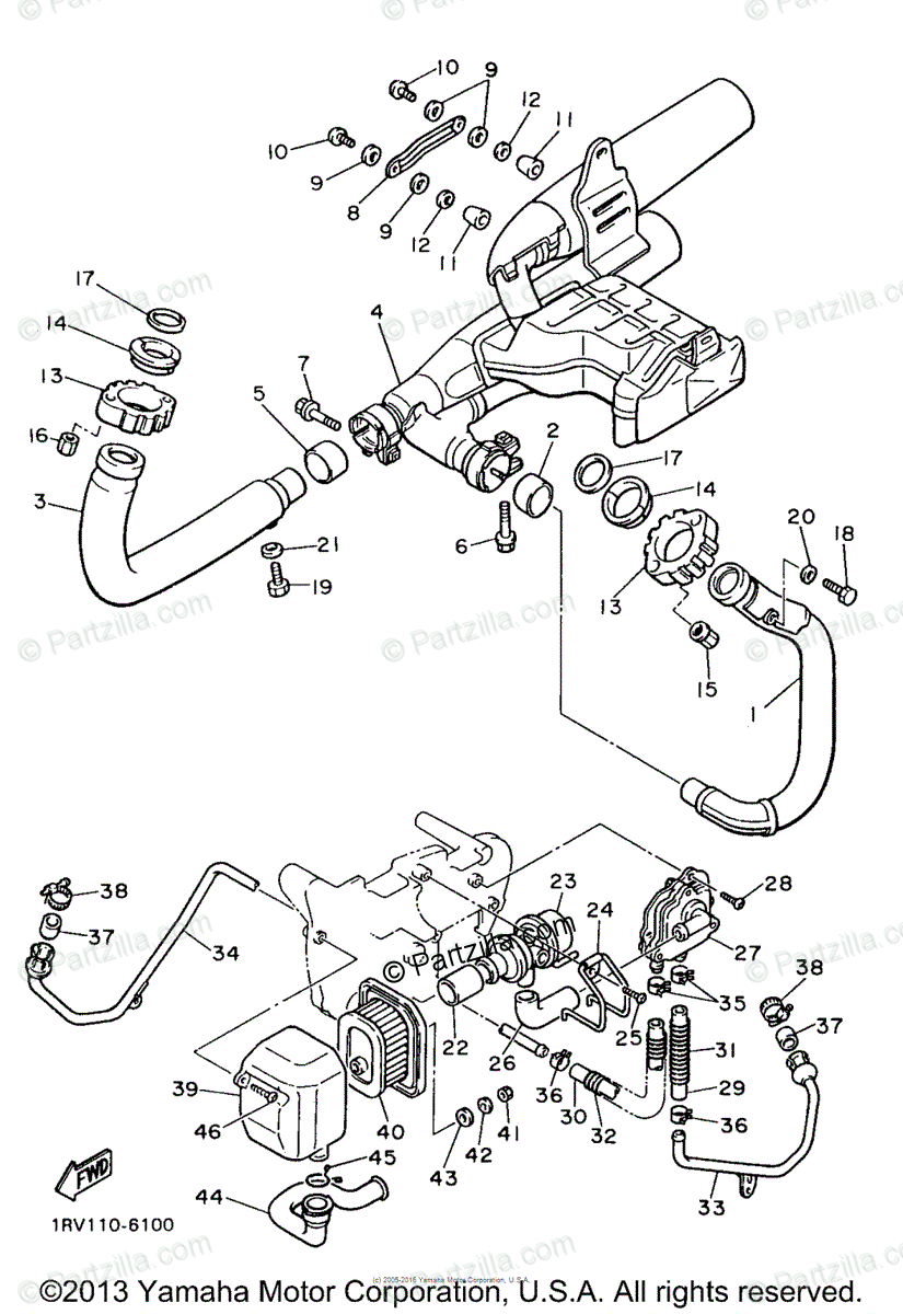 Yamaha Motorcycle 1998 OEM Parts Diagram for Exhaust