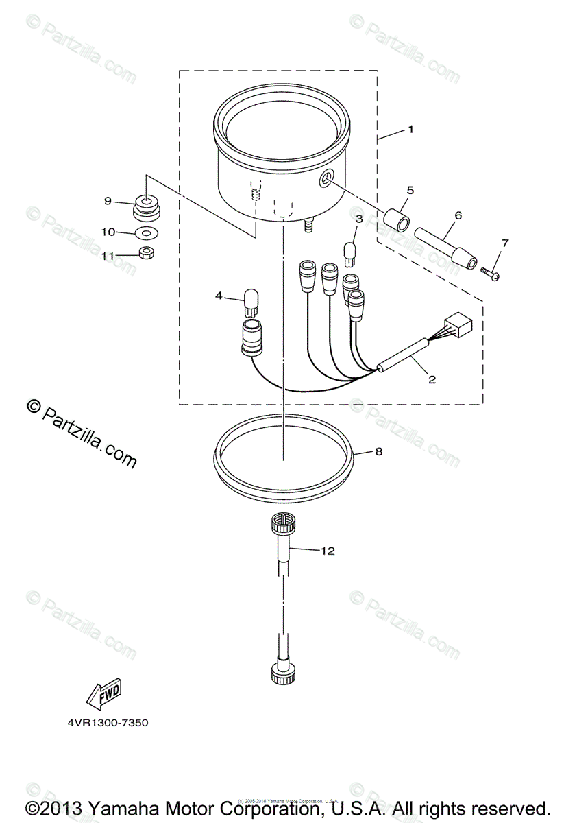 Yamaha Motorcycle 2000 OEM Parts Diagram for Meter