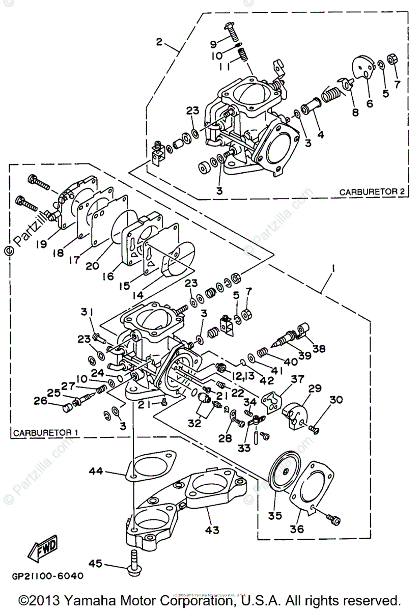 Yamaha Waverunner 1996 OEM Parts Diagram for Carburetor