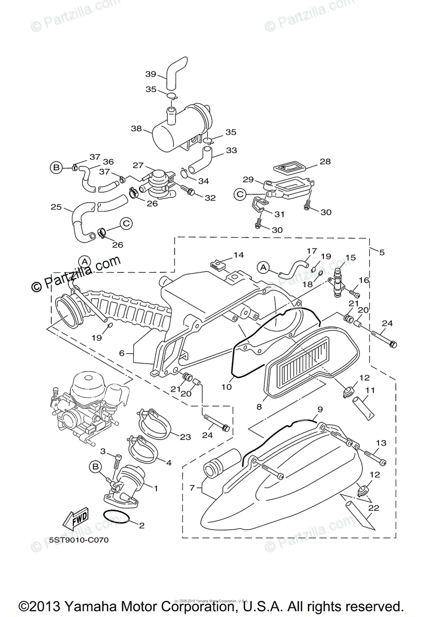 Yamaha Scooter 2006 OEM Parts Diagram for Intake