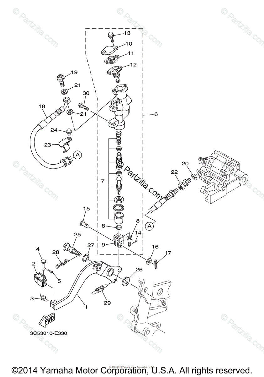 Yamaha Motorcycle 2014 OEM Parts Diagram for Rear Master