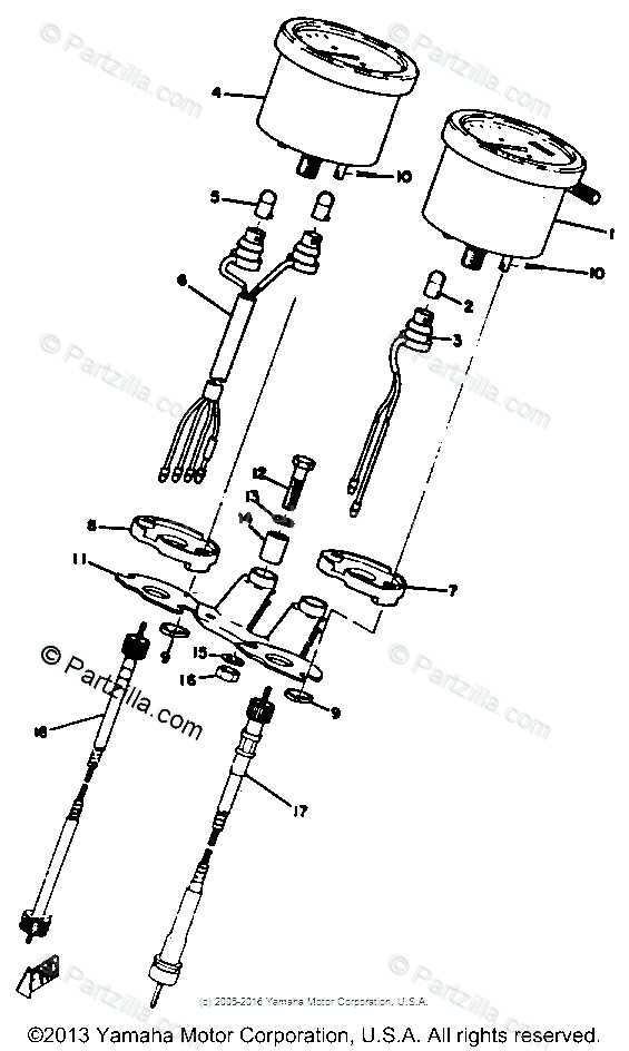 Yamaha Motorcycle 1972 OEM Parts Diagram for Speedometer
