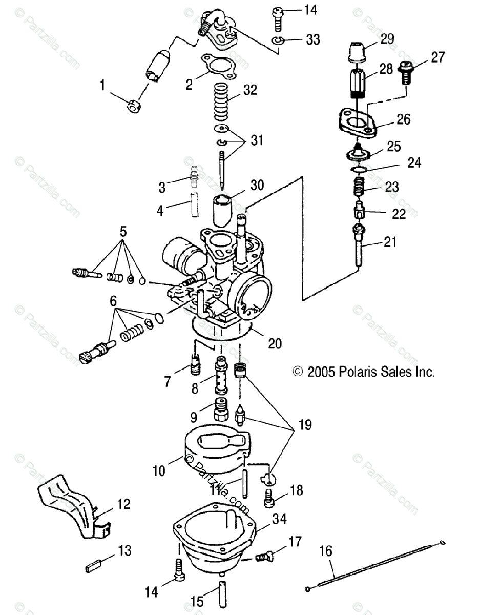 Polaris ATV 2005 OEM Parts Diagram for Carburetor