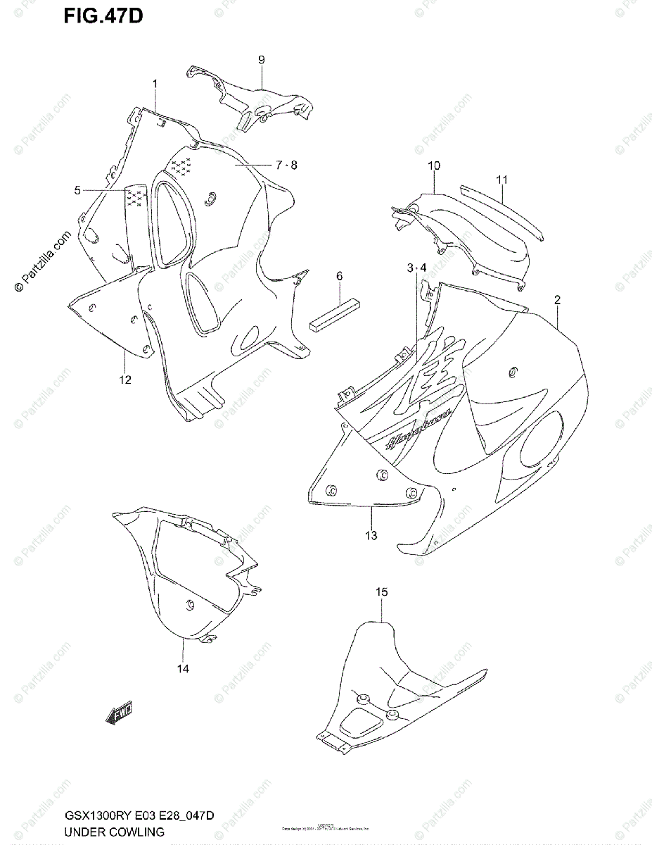 Suzuki Motorcycle 2001 OEM Parts Diagram for UNDER COWLING
