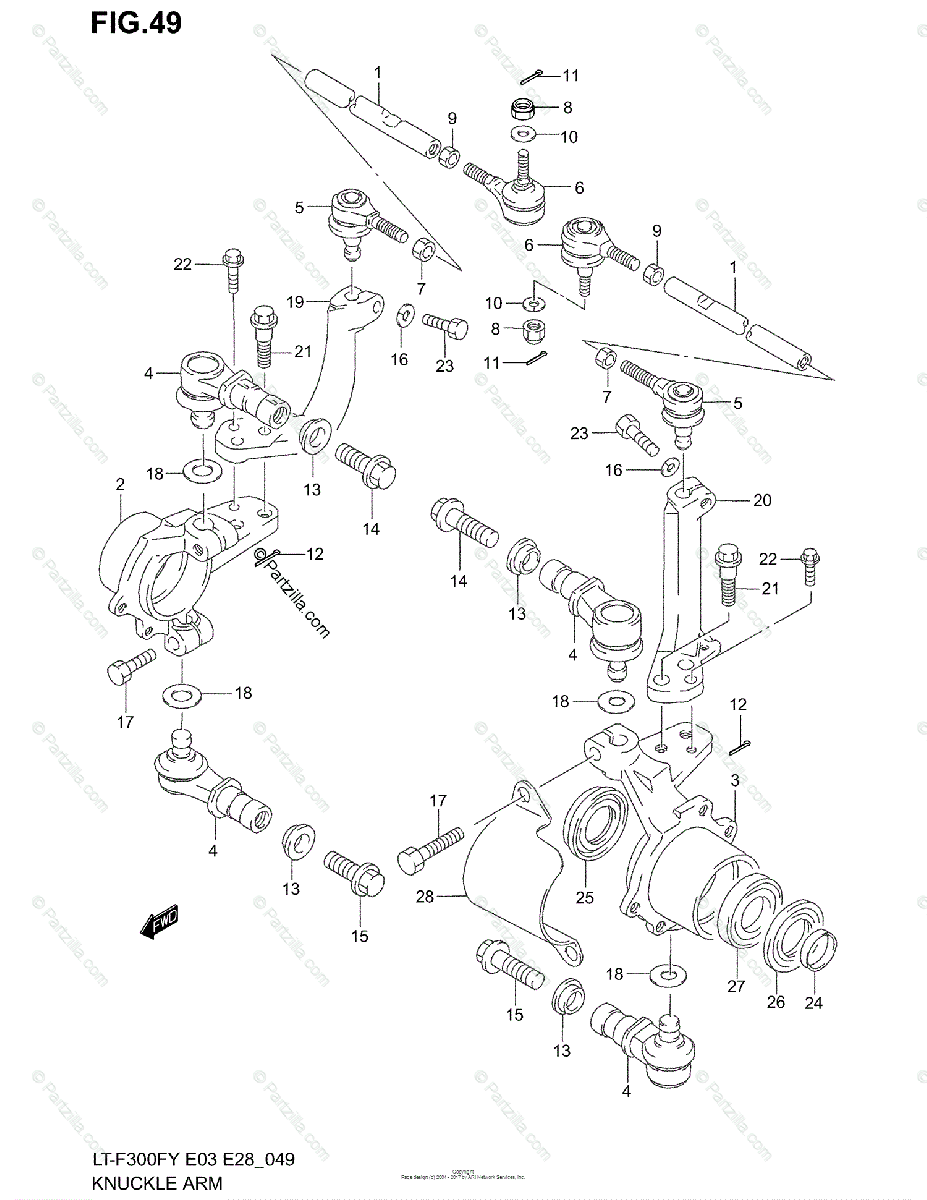 Suzuki ATV 2002 OEM Parts Diagram for KNUCKLE ARM (MODEL X
