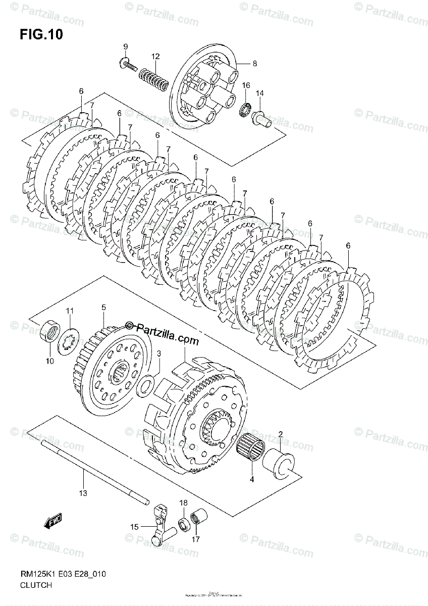 Suzuki Motorcycle 2001 OEM Parts Diagram for CLUTCH (MODEL