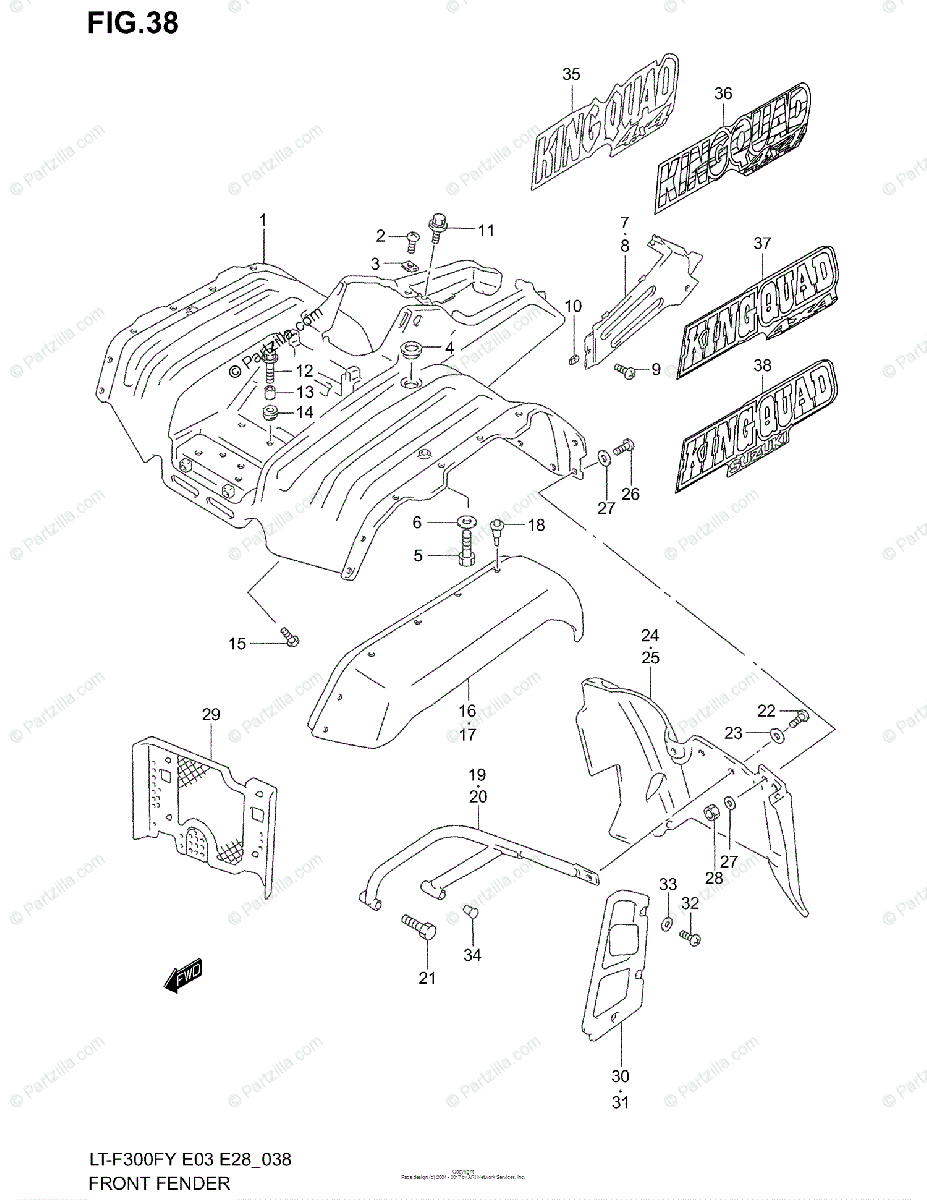 Suzuki ATV 1999 OEM Parts Diagram for Front Fender