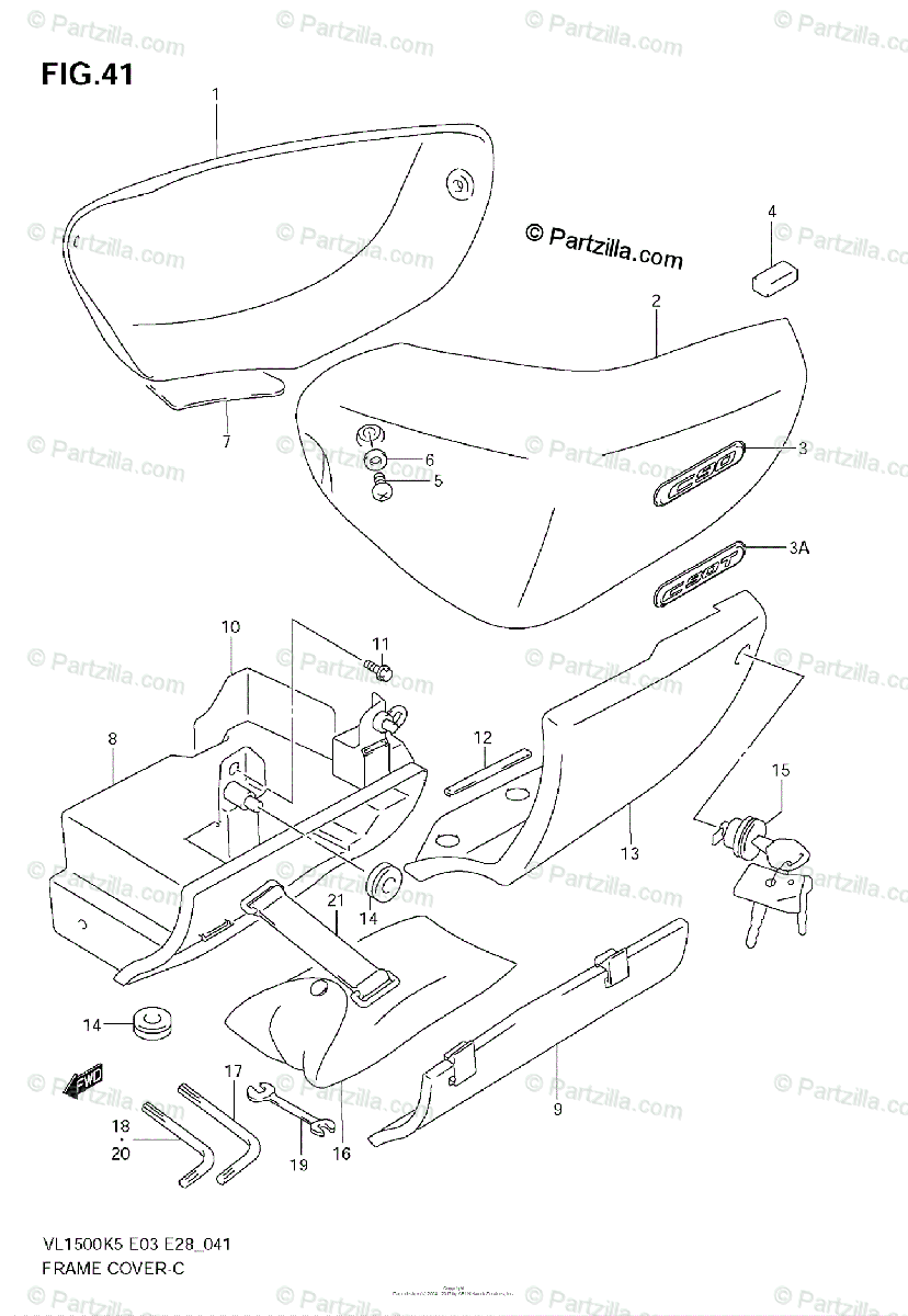 Suzuki Motorcycle 2005 OEM Parts Diagram for FRAME COVER