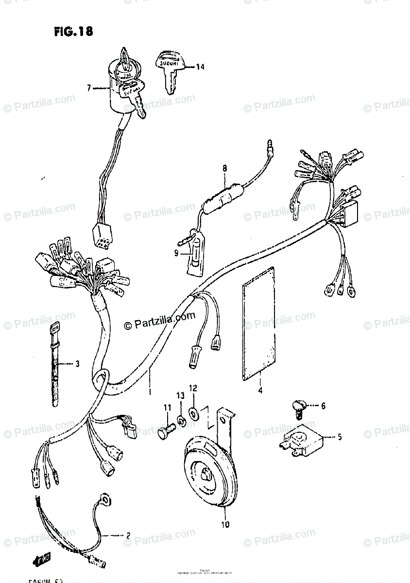 Suzuki Scooters 1985 OEM Parts Diagram for Wiring Harness