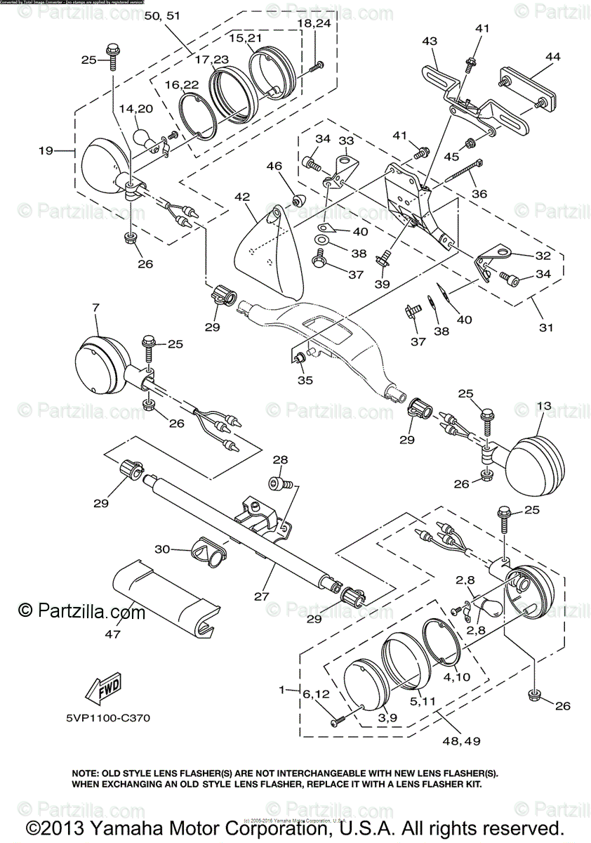 Yamaha Motorcycle 2004 OEM Parts Diagram for Flasher Light