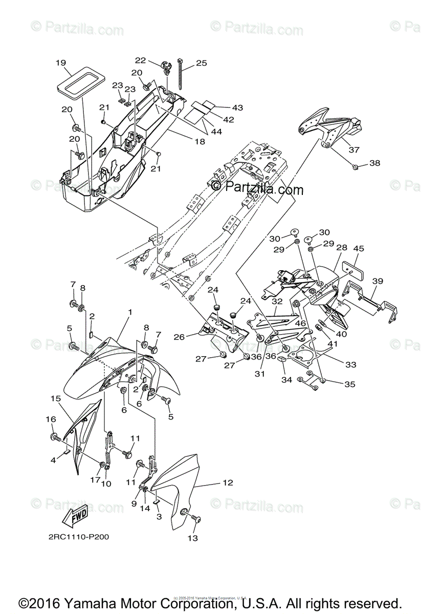 Yamaha Motorcycle 2015 OEM Parts Diagram for Fender