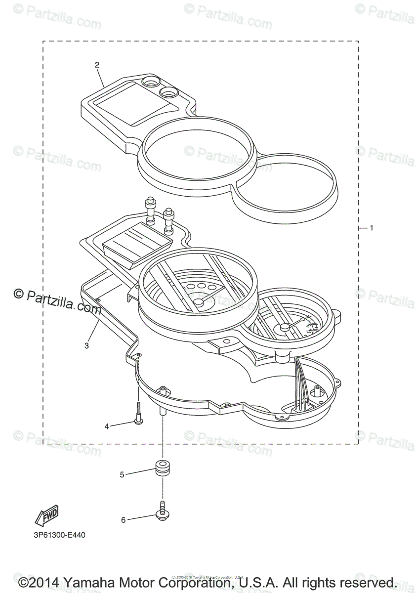 Yamaha Motorcycle 2011 OEM Parts Diagram for Meter