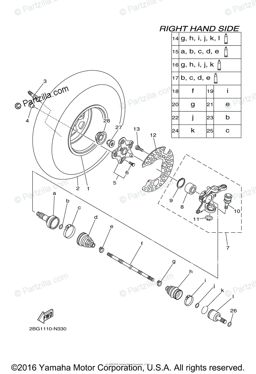 Yamaha ATV 2014 OEM Parts Diagram for Front Wheel 2