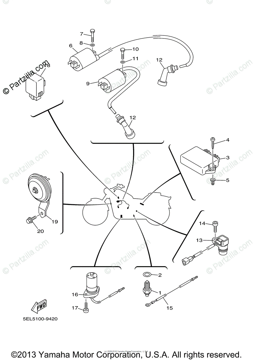 Yamaha Motorcycle 2003 OEM Parts Diagram for Electrical