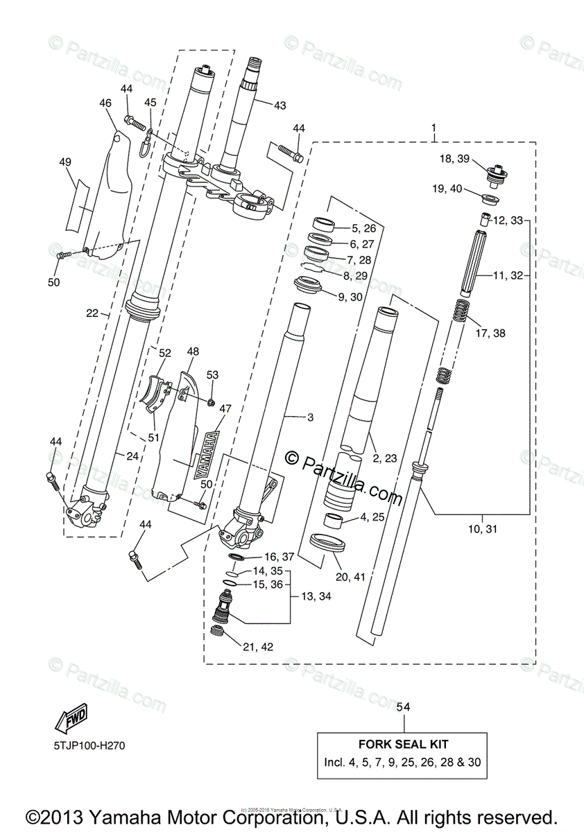 Yamaha Motorcycle 2011 OEM Parts Diagram for Front Fork