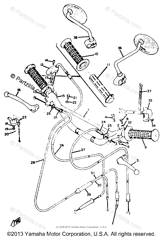 Yamaha Motorcycle 1971 OEM Parts Diagram for HANDLE- WIRE